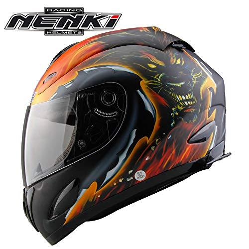 NENKI Casco Modulare Moto Crash D.O.T Ombrello Moto Integrale Visiera Parasole per Uomo Adulto Donna (M, L, XL),Wolfhead,M53~54CM