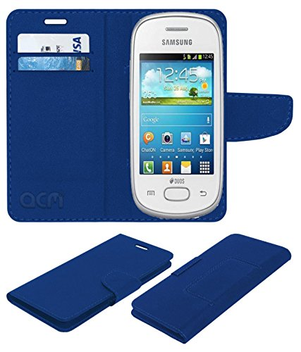 Acm Mobile Leather Flip Flap Wallet Case for Samsung Galaxy Star S5280 S5282 Mobile Cover Blue  available at amazon for Rs.369