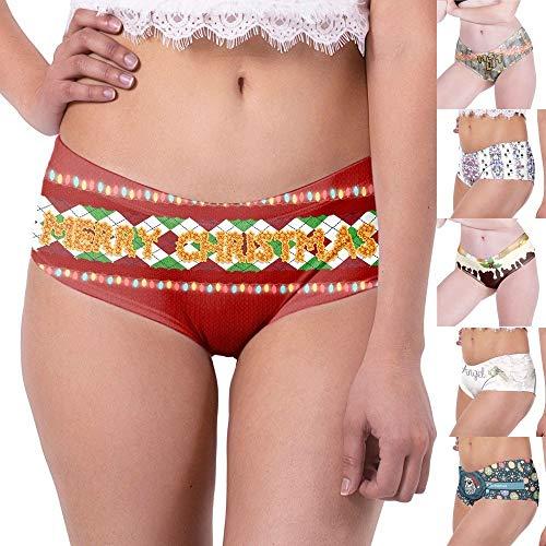 POLP Mujer Bragas de Cintura Baja Cómodo Bragas de Navidad con temática de Mujer Ropa Interior de Bikini de Talle bajo Erotica Ropa Interior para Mujeres Un Talla-Cintura 64-84cm