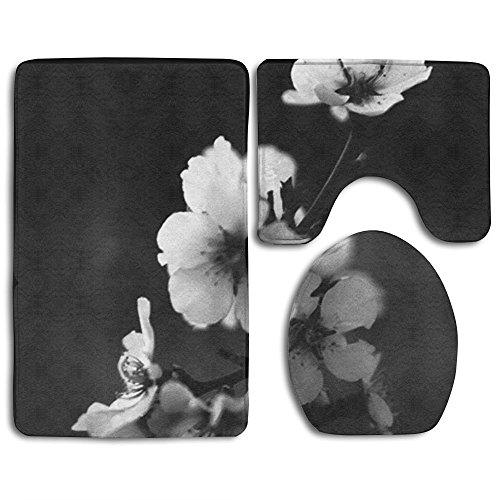RedBeans die Plum Blossom in der Welt der Schwarz und weiß. 3-Teiliges Badezimmer Matten Set Rutschfeste Badezimmer Teppiche/Contour Matte/WC Bezug