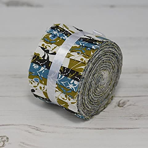 FABRIC FREEDOM ARTS & CRAFTS OLIVE GREEN THEME MINI JELLY ROLLS 20 STRIPPERS STRIPS 100% COTTON SEWING PATCHWORK QUILTING CRAFT FABRIC BUNDLE EACH STRIP 2.5