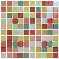 Facile Piastrelle Adesivo da parete adesivi per piastrelle antibatterico buccia e bastone Piastrelle per Cucina e bagno colorato mosaico cm 23x 23cm, confezione da 10