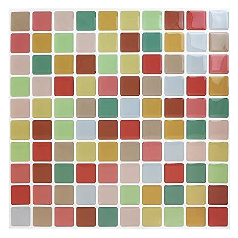 Easy Tiles Fliesenaufkleber, selbstklebend, antibakteriell, für Küche und Bad, buntes Mosaik, 23cm x 23cm, 10Stück