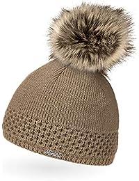 48d33b3a3e04ba Neverless® gefütterterte Damen Strickmütze mit Fell-Bommel, Kunstfell,  Winter-Mütze,