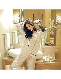 MH-RITA Primavera 2017 Nueva Dama pijamas Luxury Classic V Collar de satén de seda de manga larga Inicio vestido blanco F