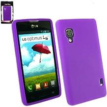 Emartbuy® LG Optimus L5 II E460 Protector De Pantalla Y Cubierta / Case Púrpura Piel De Silicona