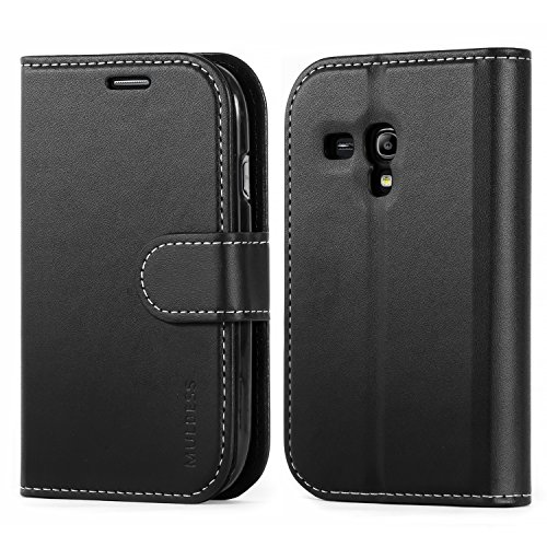 Mulbess Business Style Ledertasche im Ständer Book Case / Kartenfach für Samsung Galaxy S3 mini Tasche Hülle Leder Etui,Schwarz (Samsung Case Film Galaxy S3)