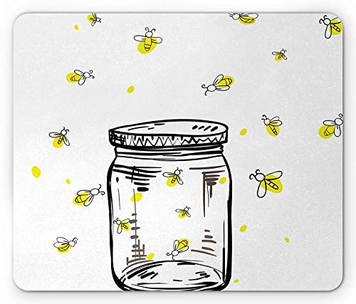e Pad, Hand Drawn Yellow Spotted Fireflies Flying Around a Jar Artistic Design, Standard Size Rectangle Non-Slip Rubber Mousepad, Black Umber and Yellow ()