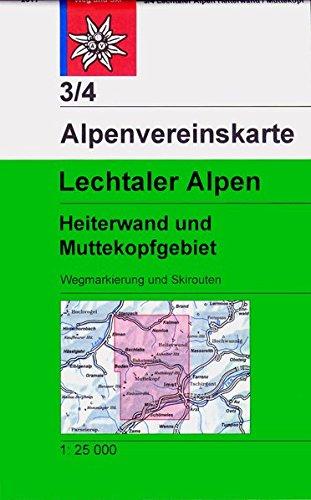 Lechtaler Alpen - Heiterwand: Topographische Karte 1:25.000, Wegmarkierungen und Skirouten (Alpenvereinskarten)