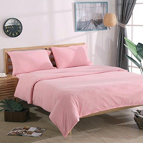 Rose Queen Tröster (NTCOCO Jersey Knit Baumwolle Bettbezug Queen Home Bettwäsche 3-Teiliges Set, 1Tröster Bezug und 2Kopfkissen, Weich Bequemen Queen Rose)