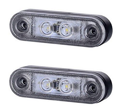 2 x 2 SMD LED Weiß Begrenzungsleuchte Seitenleuchte mit Gummi-Pad 12V 24V E-Prüfzeichen Positionsleuchte Auto LKW PKW Lampe Leuchte Licht Universal
