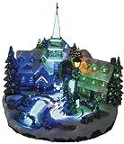 insatech LED Dorfplatz mit Kirche und drehendem Weihnachtsbaum durch Fiberoptik beleuchtet