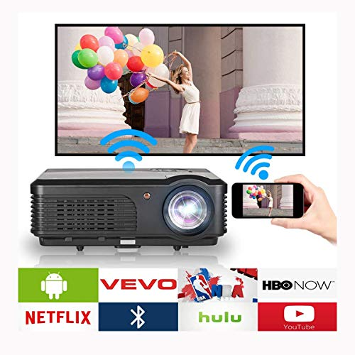Ai LIFE Intelligenter HD-Videoprojektor mit Wi-Fi Bluetooth HDMI System 8400 Lumen LCD Drahtloser Projektor Heimkino für Spiele Filme Unterhaltung im Freien 1280x800 Native