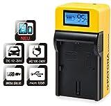 Patona LCD Top Cargador para Batería de Fujifilm NP-W126NP de w126s con entrada Micro-USB y salida USB para cargar un dispositivo (Smartphone Terciario paralelo, etc.)