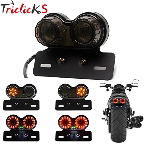 triclicks Motorrad Rücklicht Bremslicht Frontblinker Licht Schritt ES Licht mit Nummernschild Halterung für geländefahrzeugen Dirt Bike Custom Chopper (Blinker, Nummernschild-halterung)