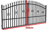 SO2 Einfahrtstor Hoftor Doppelflügeltor Gartentor Bellevue mit Riegelset 350 x 150 cm Komplett-Set inklusive 2 Torelementen, 2 Stahlpfosten und Beschlägen. Gesamtbreite ist ca. 371 cm