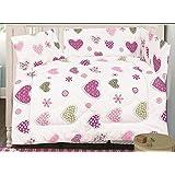 Love2Sleep–algodón de 3piezas para cuna colcha, juego de cama y almohada–ideal para guardería cama–corazones