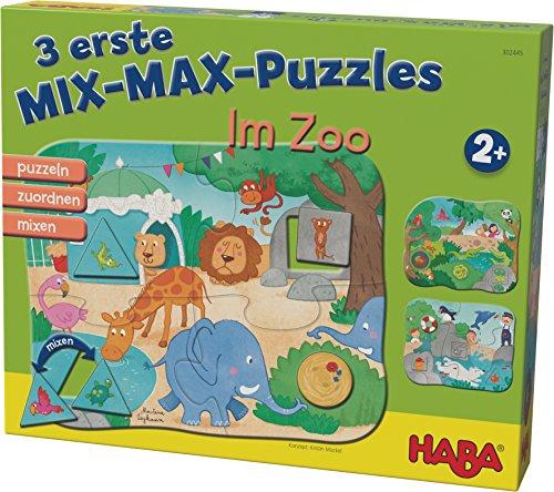 HABA 302545 - 3 Mix-Max Puzzles - Im Zoo