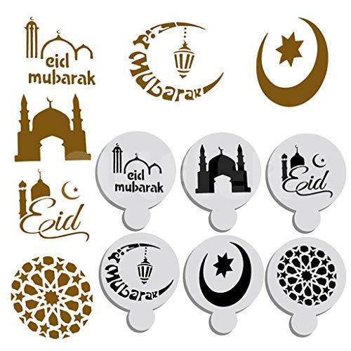 Moule à Cake,LRWEYFestival 6pcs Ramadan Mubarak marquant Cake Top Stencil Décoration Étoile Moule Lune