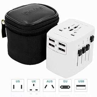Worldwide Travel Adapter, iBoxCube New International Plug [US UK EU AU] with Dual USB Charging Ports [Dual USB Power Rating: 5V/2500mA] & Universal AC Socket, Safety Fused (Ice White)
