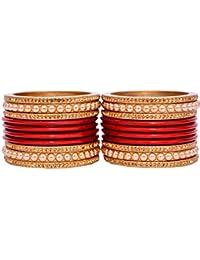 Dulari Stone & Pearl Embellished Lac Round Punjabi Bangles Set For Women (Set Of 20 Bangles)