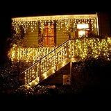 BUOCEANS® 216 LED 5M Eisregen/Eiszapfen Lichter, LED Lichtervorhang Lichter, Weihnachtsdeko Weihnachtsbeleuchtung Deko Christmas INNEN und AUSSEN, LED String Licht (Warmes Weiß - 5M) [NEWEST]