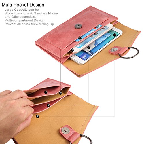 Universal Femmes Mini épaule en cuir Sac PU téléphone mobile porte-monnaie avec bandoulière pour iPhone 7/6/6S,7 Plus/6 Plus/6S Plus et d'autres téléphones 6.3 pouces ci-dessous (STLKH) Rose
