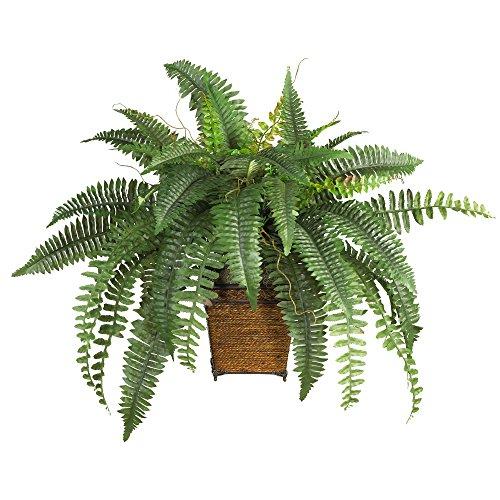Nearly Natural Fast natur 6549Boston Farn mit Geflecht Dekorative Silk Pflanze, Grün (30-zoll-topf)