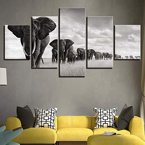 zxddzl HD Wall Art Work Canvas Pictures Moderno 5 Panel Elefantes Paisaje...