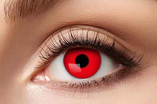 Eyecatcher - Farbige Kontaktlinsen für 12 Monate, Teufel, 2 Stück Jahreslinsen, rot, / BC 8.6 mm / DIA 14.5 mm