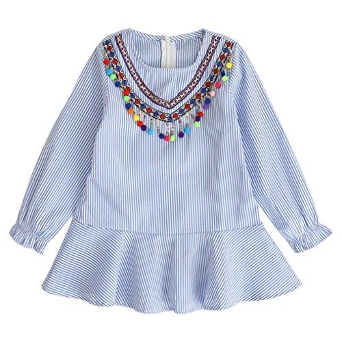 BeautyTop Babykleid, Herbst Kleinkind Kinder Mädchen Quaste Striped Robe Fille Rüschen Prinzessin Party Shirt Kleid (4T, Blau) (4t Kleinkind Robe)