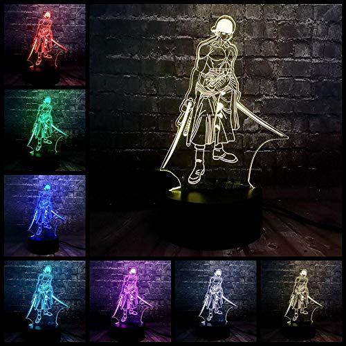 Zcmzcm 3D Nachtlichter Anime Thema 3D Coole Nacht Led Leuchtet 7 Farbe Usb Home Boy Schlaf Tabelle Lava Geburtstag Kinder Geschenk