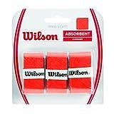 Wilson Griffbänder Pro Soft Overgrip 3 Pack - Mango de raqueta de tenis (pack de 3), color naranja