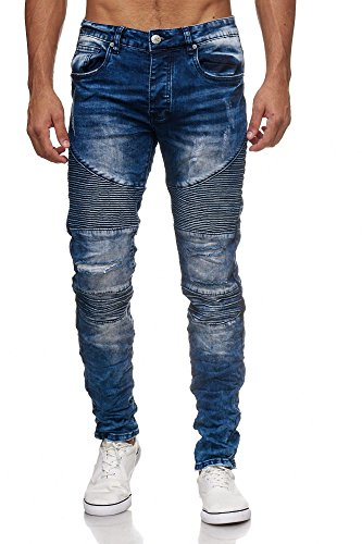 MEGASTYL Biker-Jeans-Hose Herren Stretch-Denim Slim-Fit Stepp-Design Blau