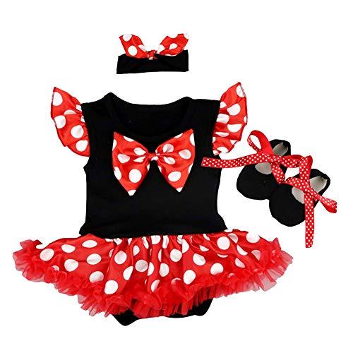 FYMNSI Baby Mädchen Erste Halloween Outfit Mouse Kostüm Vintage Gepunktet Prinzessin Tütü Body Kleid + Schleife Stirnband + Schuhe 3tlg Party Weihnachten Geburtstag Bekleidungsset Rot 3-6 Monate