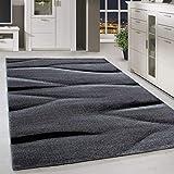 HomebyHome Moderner Design Teppich Kurzflor Abstrakt Linien Gemustert Wohnzim. Grau Schwarz Meliert, Größe:160x230 cm