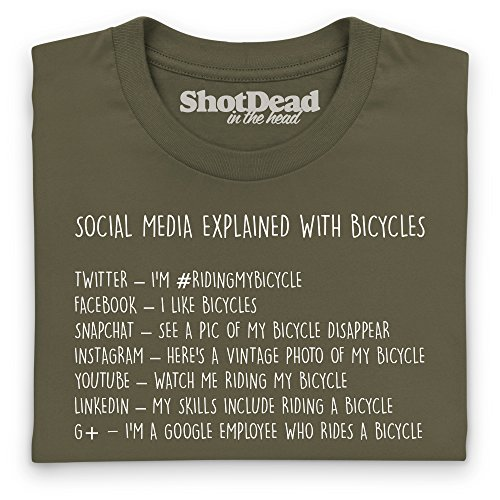 Social Media Explained - Bicycles T-Shirt, Damen Olivgrn
