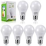Liqoo® 6 x E27 7W Bombilla LED Lámpara Aluminio y Plástico Blanco Cálido 3000K AC 220-240V Ángulo de haz 270° 600 Lumen No Dimmable Sustituye la lámpara Halógena de 45W
