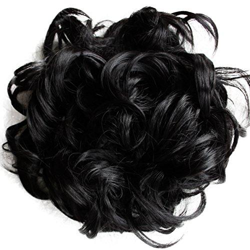 Prettyshop XXXL Haarteil Haargummi Hochsteckfrisuren, VOLUMINÖS, gelockter, unordentlicher Dutt schwarz #1 HW6