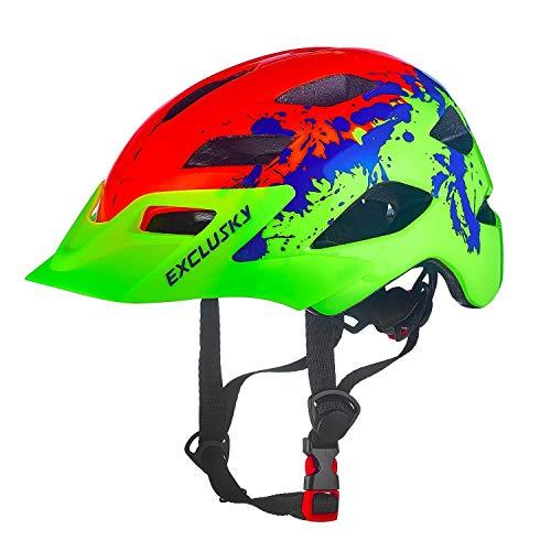 Exclusky Casco da Bicicletta Bambini Regolabile 50-57cm (età 5-13) (Arancia)