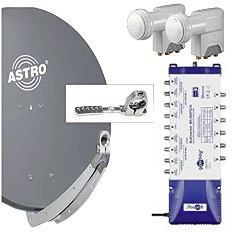 Komplette Multifeed Sat Anlage für 6 Teilnehmer / 2 Satelliten; High End; mit Astro 85 cm Spiegel in anthrazit + Goobay 6-fach Multischalter 9/6 + 2 Stück Goobay Quattro LNB 0.1 dB + Alu-Multifeed mit Gradeinteilung + Zubehörpaket: Sat Finder, 30 m Koax Kabel 4-fach geschirmt, F Stecker für aussen und innen, Gummitüllen; Empfang von 2 Satelliten mit 6 bis 10 Grad Abstand; z.B. Astra und Hotbird