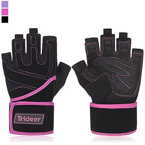 "Trideer Women's Padded Anti-Slip Weight Lifting Gloves with 18"" Wrist"