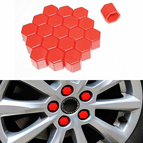 20 caches en silicone Moyeu de roue de voiture 17 mm Écrous jantes Ergots Boulons Vis couvertures de rouille Rouge