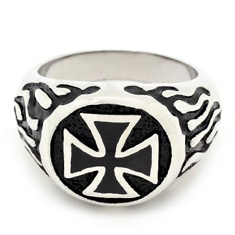 Stilvolle Cross & Flame Design Edelstahl Ring - Größe: 13 (Lifetime Warranty) (Größe: 13)