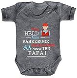 Geschenk zum Vatertag KFZ Mechaniker Strampler Bio Baumwoll Baby Body Kurzarm Jungen Mädchen Papa - Mein Held kann Fahrzeuge Reparieren, Größe: 3-6 Monate,Heather Grey Melange