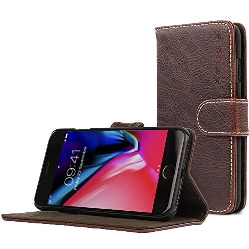 Snugg iPhone 7 and 8 Hülle, Apple iPhone 7 and 8 Klappetui Flip Cover Tasche Leder [Kartenfächer] Schutzhülle Lederbrieftasche Executive Design - Dark Roast Brown, Legacy Range -