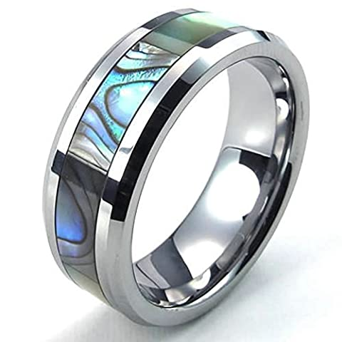 Aooaz Free Engraving Ring for Men 8MM Tungsten Carbide Artificial Abalone Inlay Size N 1/2 Wedding