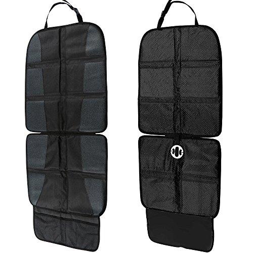 Imagen para Rovtop Protector de asiento de coche Antideslizante con organizador bolsillos Tamaño universal para los asientos de coche de bebé y niño de alta resistencia (negro)