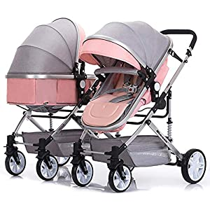 LjfRⓇ Hot Mom stroller travel system Detachable Twin Carriage, Shockproof, Foldable Pushchair with Adjustable Backrest, Lightweight Newborn Stroller, I   12