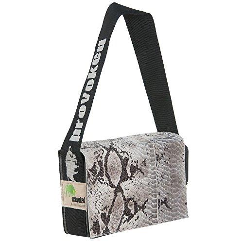 Messenger Bag Mini PROVOKED mit Leder Python & LKW-Plane: schwarz 26x21 Krokomuster Schlangenoptik -